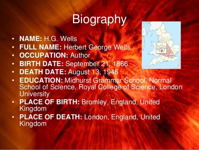 a biography of herbert george wells an english novelist teacher historian and journalist Oxford dictionary of national biography browse occupations religious affiliation.