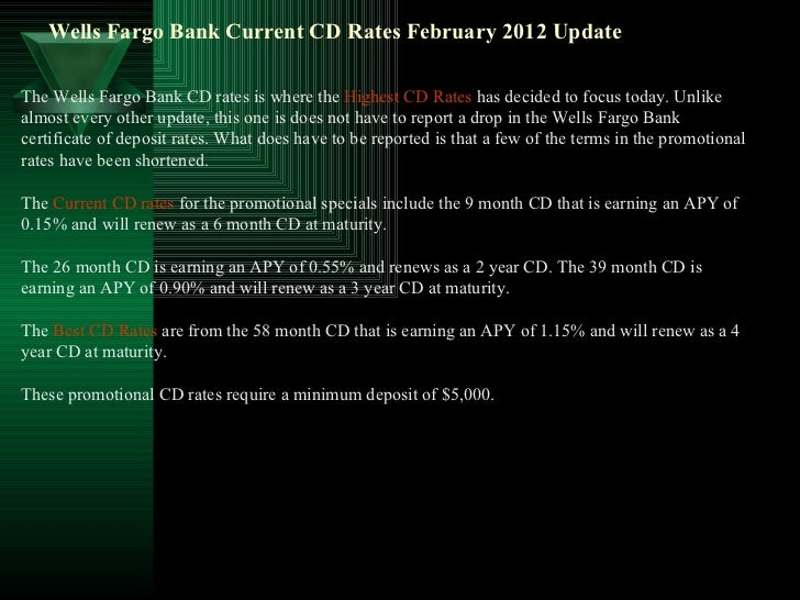 Wells Fargo Bank Current Cd Rates February 2012 Update