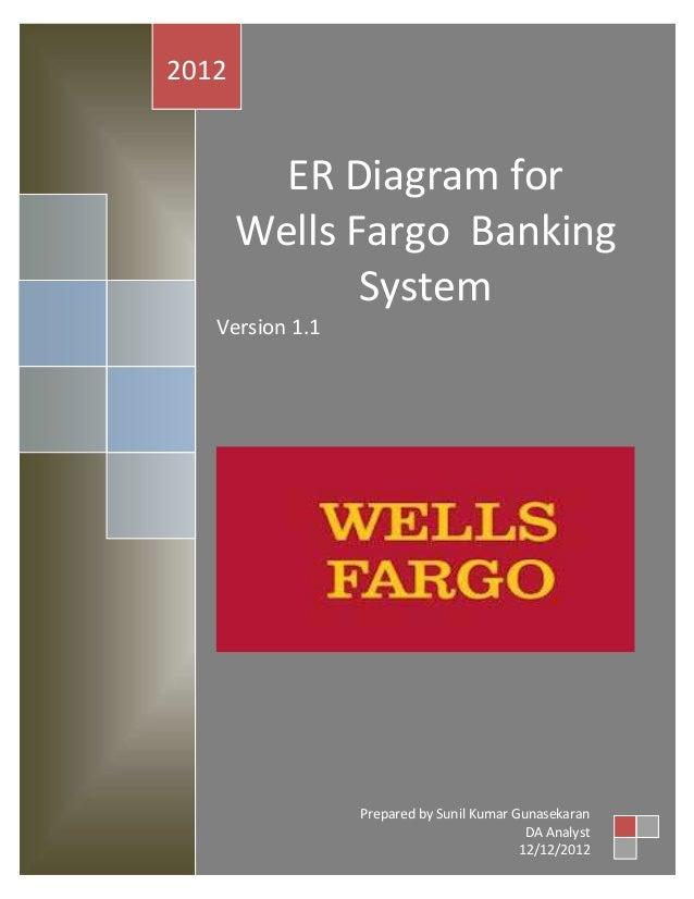 2012  ER Diagram for Wells Fargo Banking System Version 1.1  Prepared by Sunil Kumar Gunasekaran DA Analyst 12/12/2012