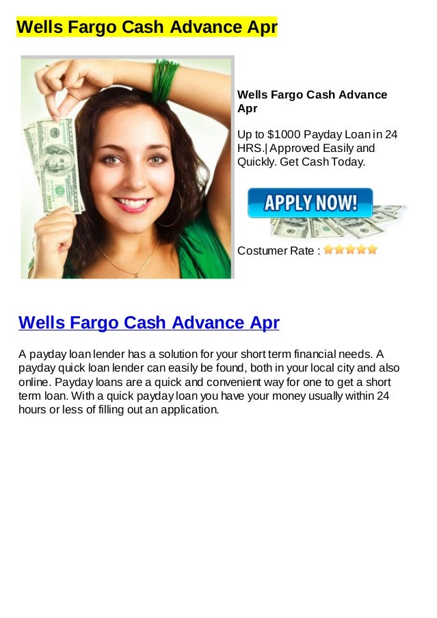Wells Fargo Payday Loan >> Wells Fargo Cash Advance Apr