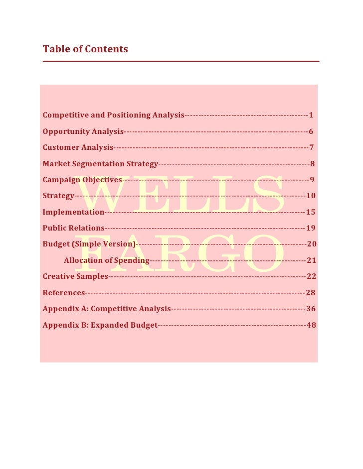 wells fargo business strategy final project It's important to know how to improve your business learn how to know when  and how to approach change.