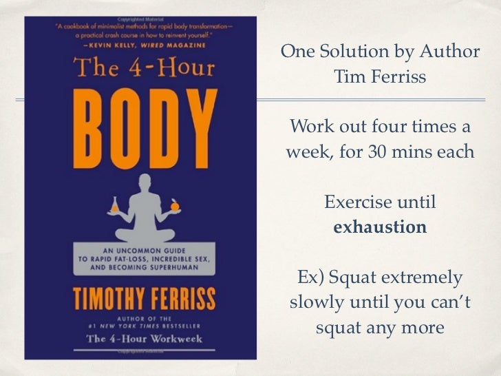 One Solution by Author     Tim FerrissWork out four times aweek, for 30 mins each     Exercise until      exhaustion  Ex) ...