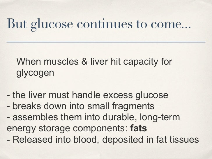 But glucose continues to come...  When muscles & liver hit capacity for  glycogen- the liver must handle excess glucose- b...