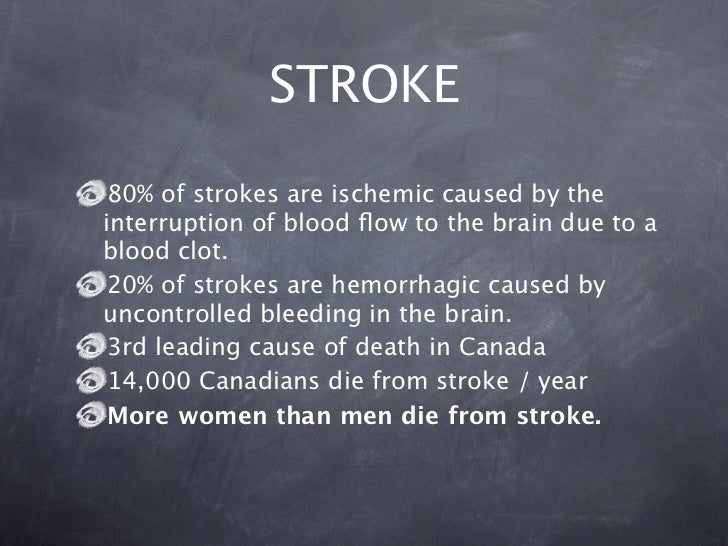 STROKE 80% of strokes are ischemic caused by theinterruption of blood flow to the brain due to ablood clot. 20% of strokes ...