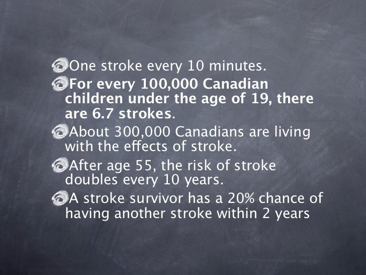 One stroke every 10 minutes. For every 100,000 Canadianchildren under the age of 19, thereare 6.7 strokes. About 300,000 C...