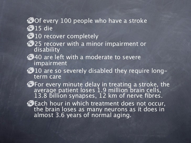 Of every 100 people who have a stroke15 die10 recover completely25 recover with a minor impairment ordisability40 are left...