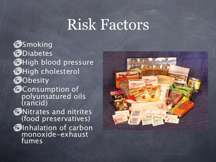 Risk FactorsSmokingDiabetesHigh blood pressureHigh cholesterolObesityConsumption ofpolyunsatured oils(rancid)Nitrates and ...