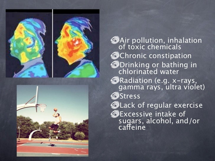 Air pollution, inhalationof toxic chemicalsChronic constipationDrinking or bathing inchlorinated waterRadiation (e.g. x-ra...