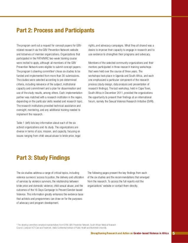 Research paper gender based violence