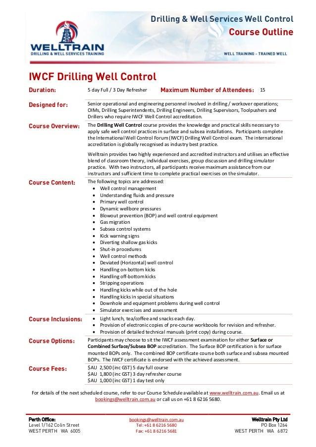 welltrain course iwcf drilling well control rh slideshare net iwcf well control manual free download iwcf well control manual pdf
