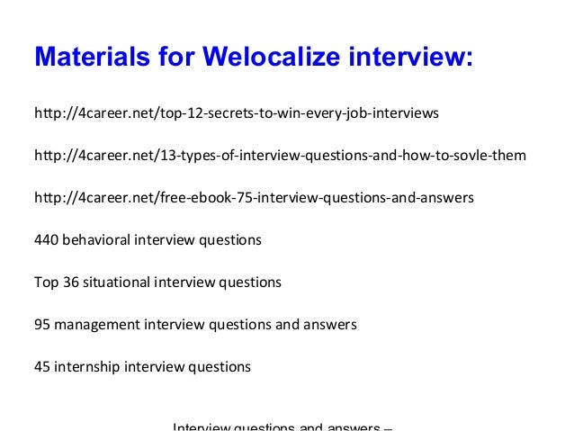 Welocalize interview questions and answers