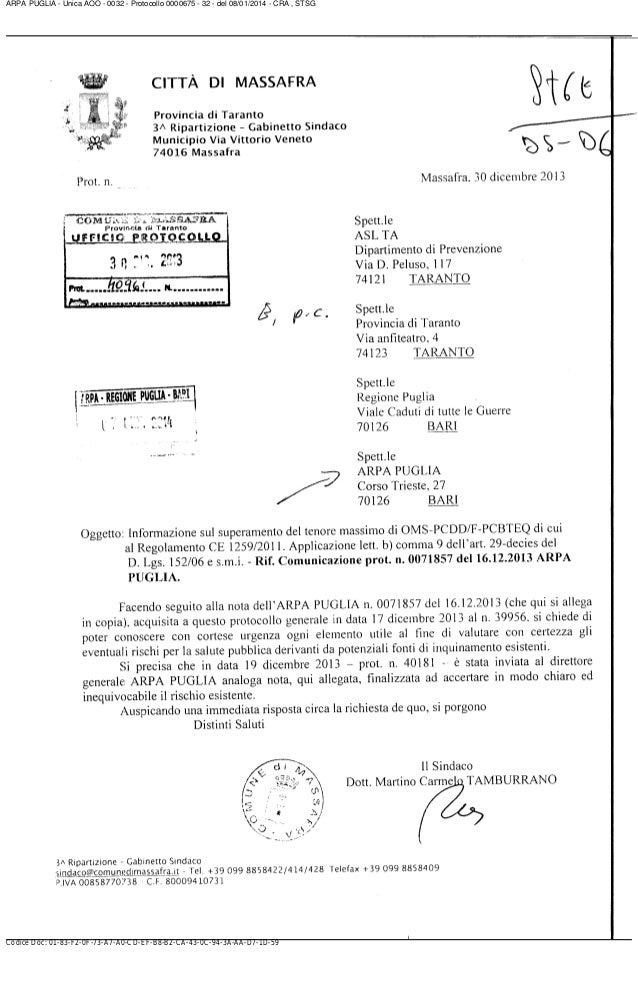 ARPA PUGLIA - Unica AOO - 0032 - Protocollo 0000675 - 32 - del 08/01/2014 - CRA , STSG  Codice Doc: 01-83-F2-0F-73-A7-A0-C...