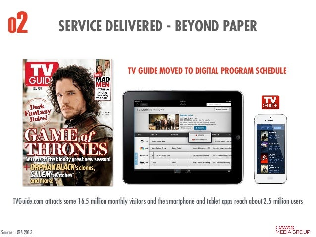SERVICE DELIVERED - BEYOND PAPER02 TV GUIDE MOVED TO DIGITAL PROGRAM SCHEDULE TVGuide.com attracts some 16.5 million month...