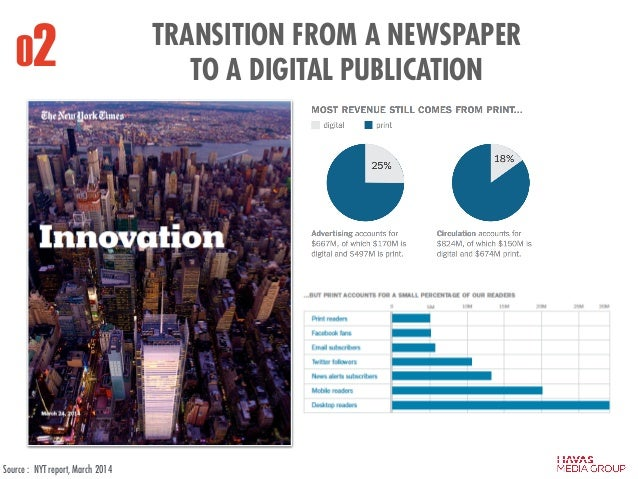 02 TRANSITION FROM A NEWSPAPER TO A DIGITAL PUBLICATION Source : NYT report, March 2014