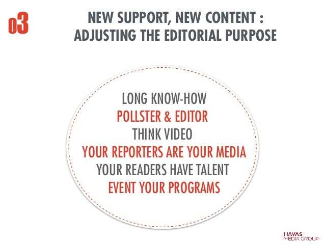 NEW SUPPORT, NEW CONTENT : ADJUSTING THE EDITORIAL PURPOSE LONG KNOW-HOW POLLSTER & EDITOR THINK VIDEO YOUR REPORTERS ARE ...