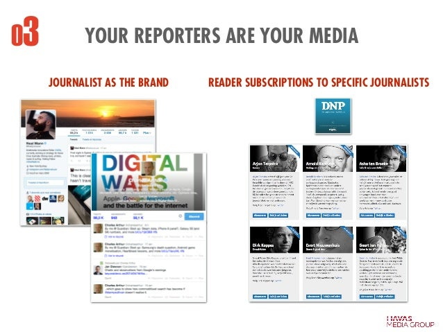YOUR REPORTERS ARE YOUR MEDIA03 READER SUBSCRIPTIONS TO SPECIFIC JOURNALISTSJOURNALIST AS THE BRAND