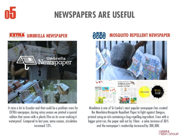 NEWSPAPERS ARE USEFUL05 UMBRELLA NEWSPAPER It rains a lot in Ecuador and that could be a problem even for EXTRA newspaper,...