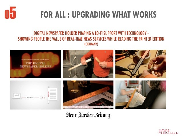 FOR ALL : UPGRADING WHAT WORKS05 ! DIGITAL NEWSPAPER HOLDER PIMPING A LO-FI SUPPORT WITH TECHNOLOGY - SHOWING PEOPLE THE V...