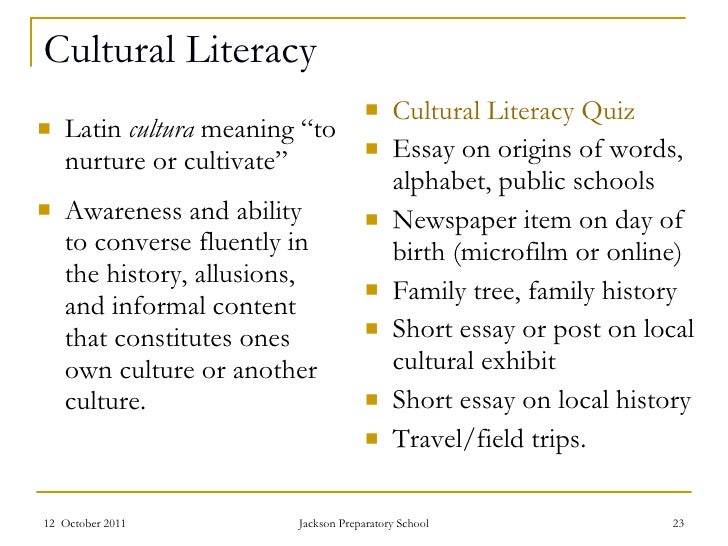 Cultural literacy essay