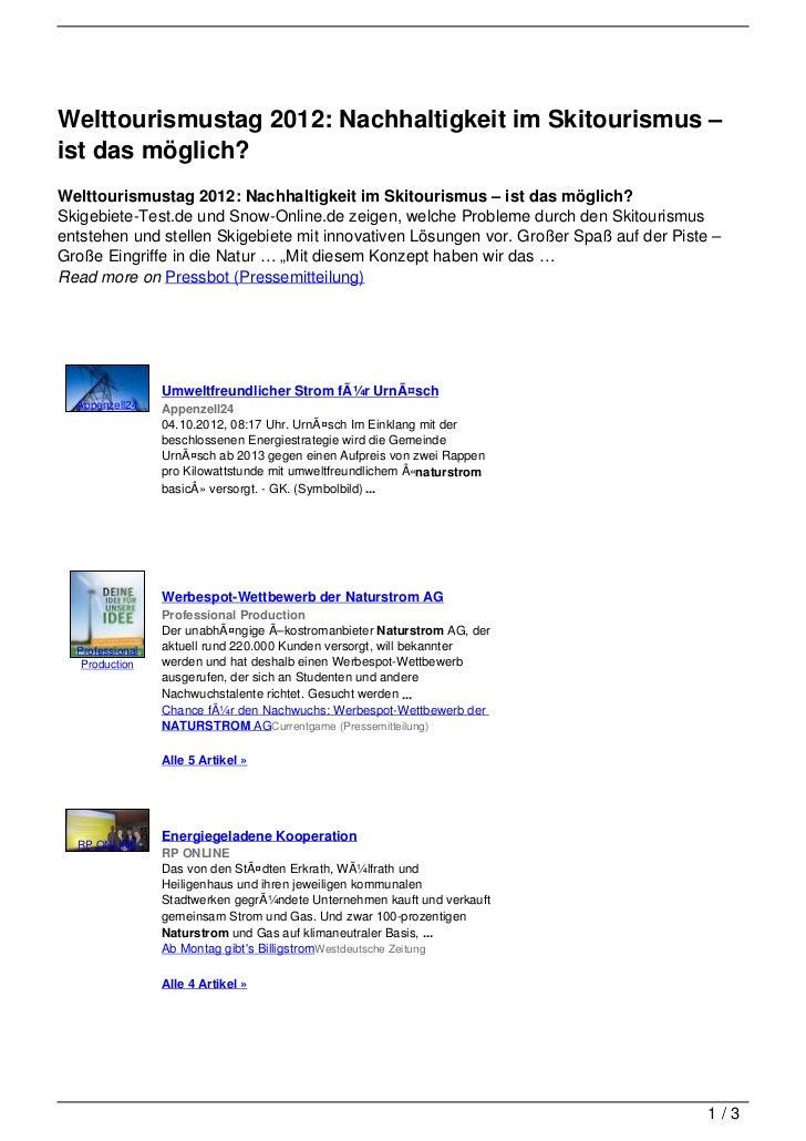 Welttourismustag 2012: Nachhaltigkeit im Skitourismus –ist das möglich?Welttourismustag 2012: Nachhaltigkeit im Skitourism...