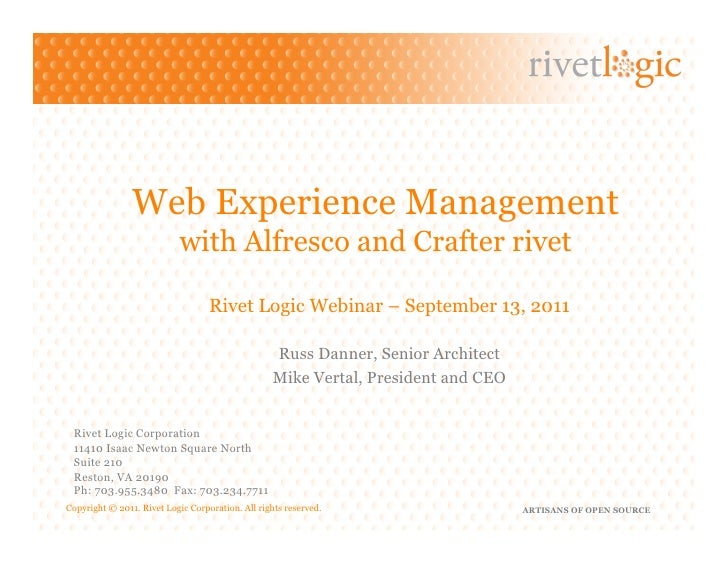 Web Experience Management                           with Alfresco and Crafter rivet                                   Rive...