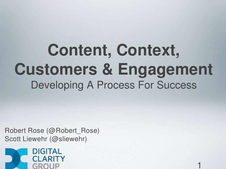 Content, Context,  Customers & Engagement       Developing A Process For SuccessRobert Rose (@Robert_Rose)Scott Liewehr (@...