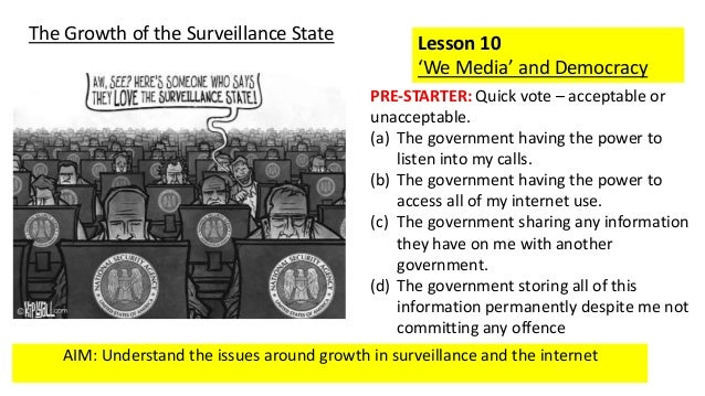 AIM: Understand the issues around growth in surveillance and the internet Lesson 10 'We Media' and Democracy The Growth of...