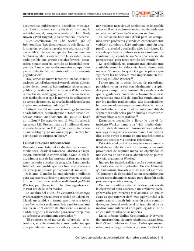 Contexto cultural:detrás de la explosión de medios participativos   17 Nosotros,el medio   Cómo las audiencias están model...