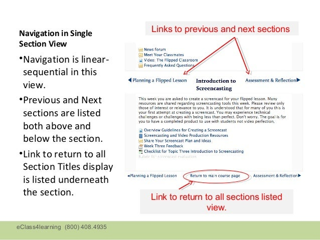 Navigation in Single             Links to previous and next sectionsSection View•Navigation is linear- sequential in this ...