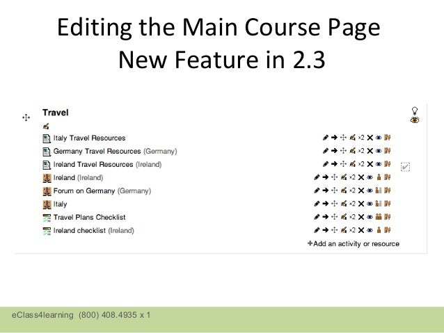 Editing the Main Course Page                New Feature in 2.3eClass4learning (800) 408.4935 x 1