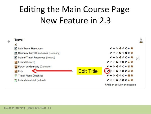 Editing the Main Course Page                New Feature in 2.3                                     Edit TitleeClass4learni...