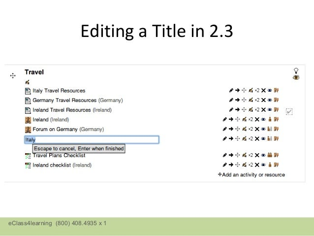Editing a Title in 2.3eClass4learning (800) 408.4935 x 1