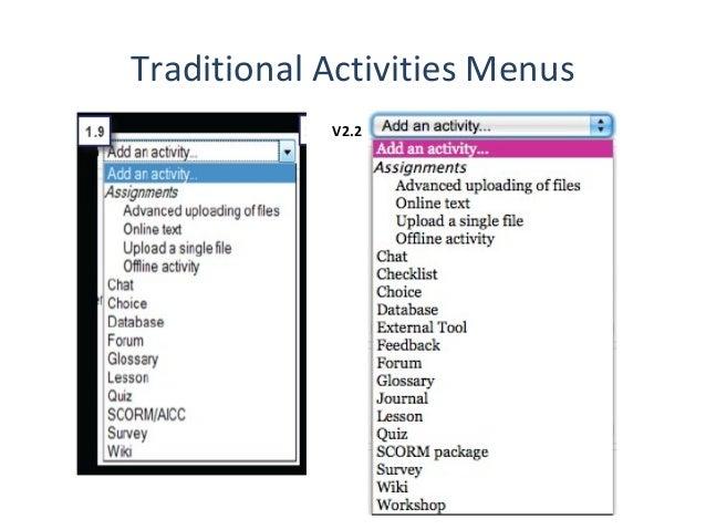 Traditional Activities Menus            V2.2