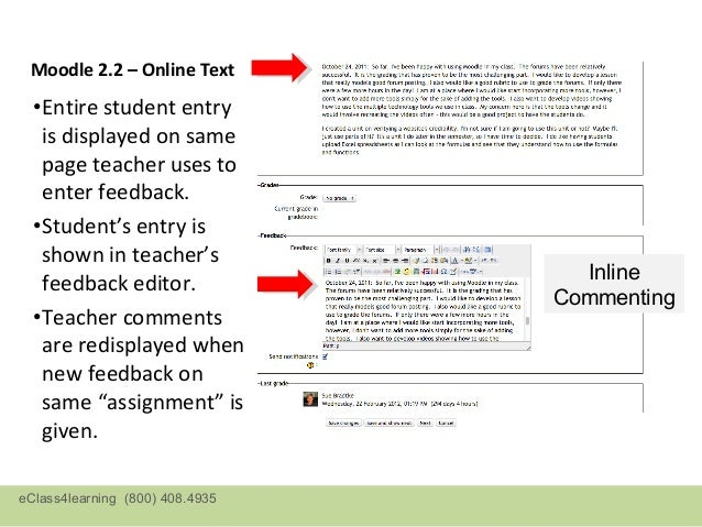 Moodle 2.3 – Online Text: View/Grade all submissions pageeClass4learning (800) 408.4935