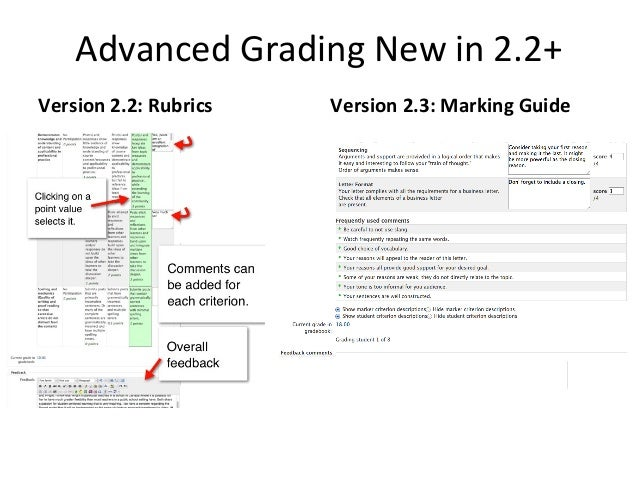 Rubrics in Moodle 2.2                  Rubrics are tied to Assignments   Rubrics are selected as a grading   Rubrics are n...