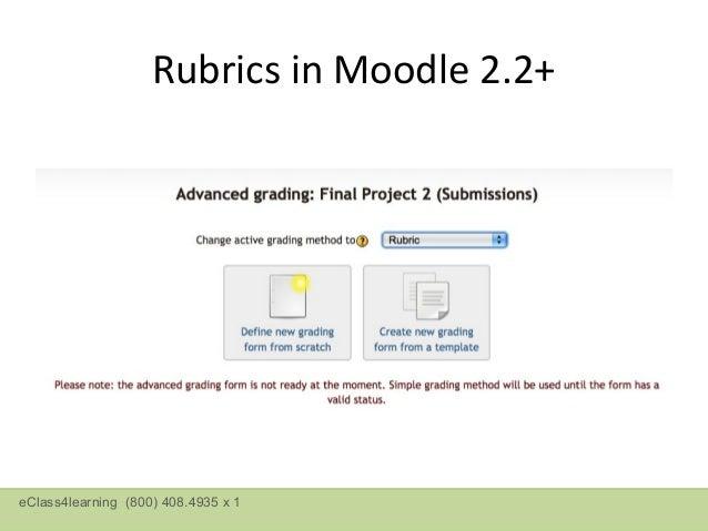 Rubrics in Moodle 2.2+RubricsetupfromscratcheClass4learning (800) 408.4935 x 1