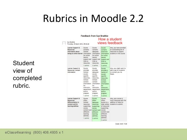 Moodle 2.3 Creating a Marking GuideeClass4learning (800) 408.4935