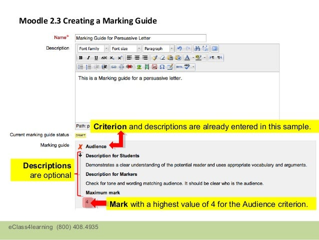 Moodle 2.3 Creating a Marking Guide   Criterion before any text is  entered:eClass4learning (800) 408.4935