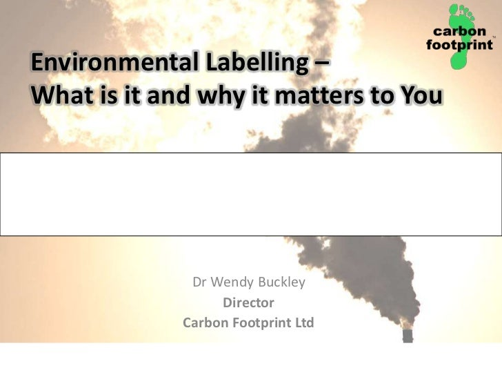 Environmental Labelling – What is it and why it matters to You<br />Dr Wendy Buckley <br />Director<br />Carbon Footprint ...