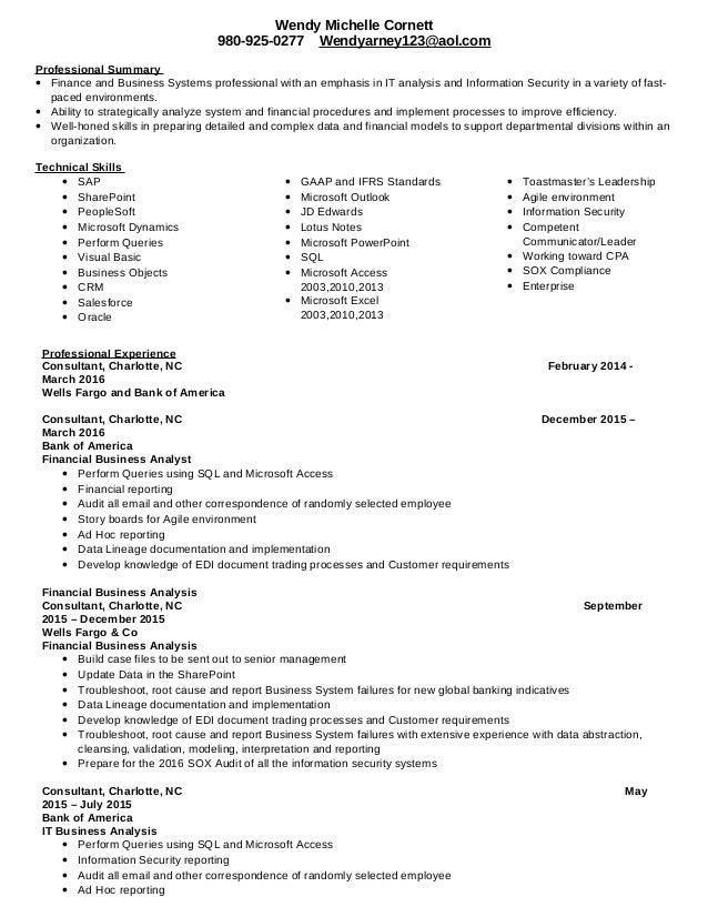 Wendy cornett resume finance updated feb 2016