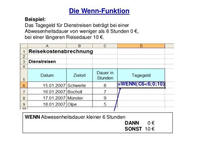 Die Wenn-FunktionBeispiel:Das Tagegeld für Dienstreisen beträgt bei einerAbwesenheitsdauer von weniger als 6 Stunden 0 €,b...
