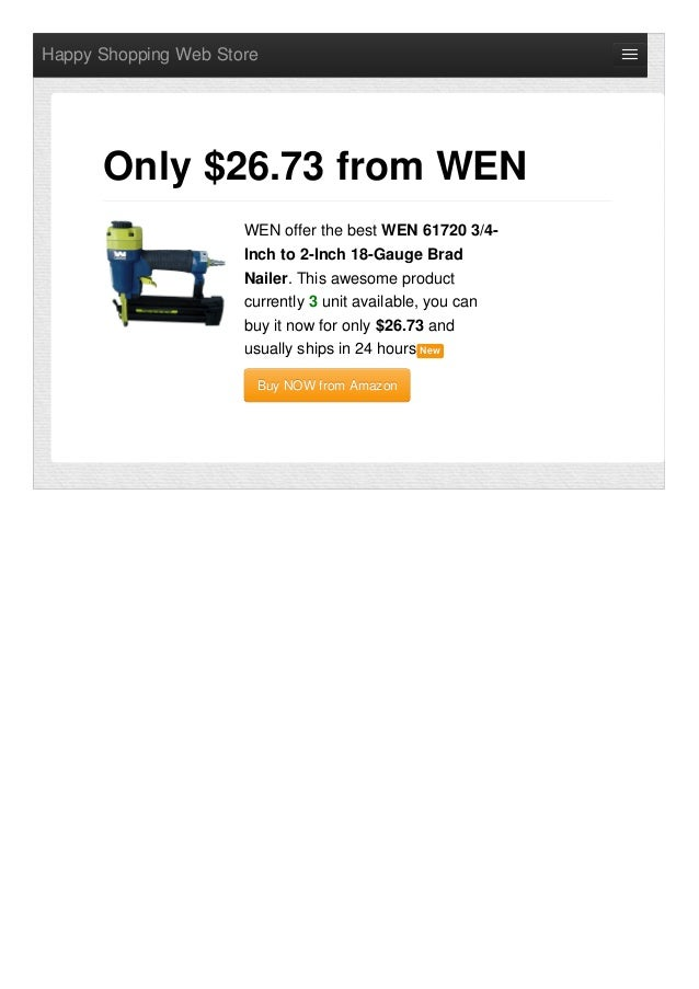 Happy Shopping Web Store WEN offer the best WEN 61720 3/4- Inch to 2-Inch 18-Gauge Brad Nailer. This awesome product curre...