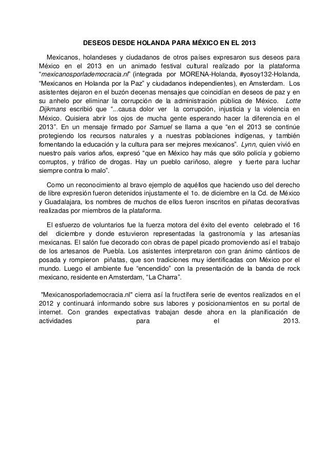 DESEOS DESDE HOLANDA PARA MÉXICO EN EL 2013   Mexicanos, holandeses y ciudadanos de otros países expresaron sus deseos par...