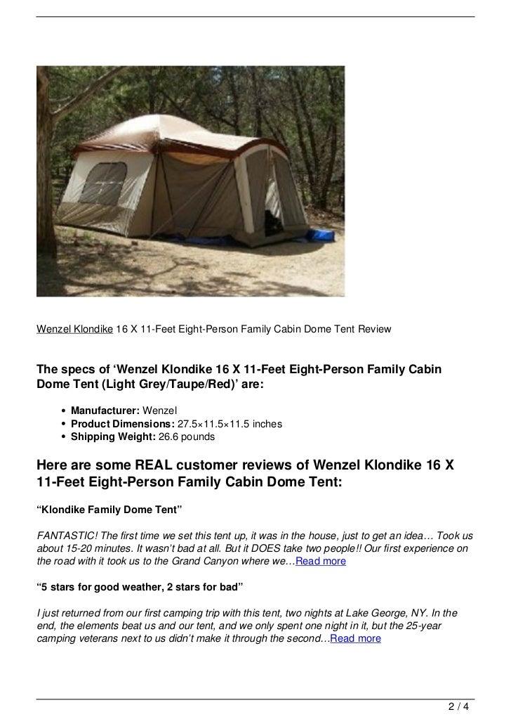 Wenzel Klondike ...  sc 1 st  SlideShare & Wenzel Klondike 16 X 11-Feet Eight-Person Family Cabin Dome Tent Reviu2026