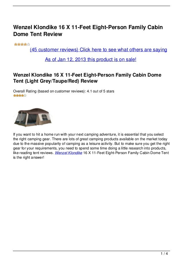 Wenzel Klondike 16 X 11-Feet Eight-Person Family CabinDome Tent Review (45 ...  sc 1 st  SlideShare & Wenzel Klondike 16 X 11-Feet Eight-Person Family Cabin Dome Tent Reviu2026