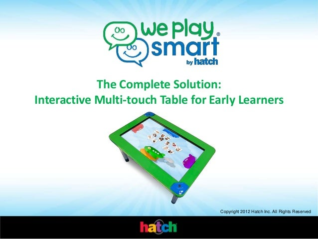 Copyright 2012 Hatch Inc. All Rights Reserved The Complete Solution: Interactive Multi-touch Table for Early Learners