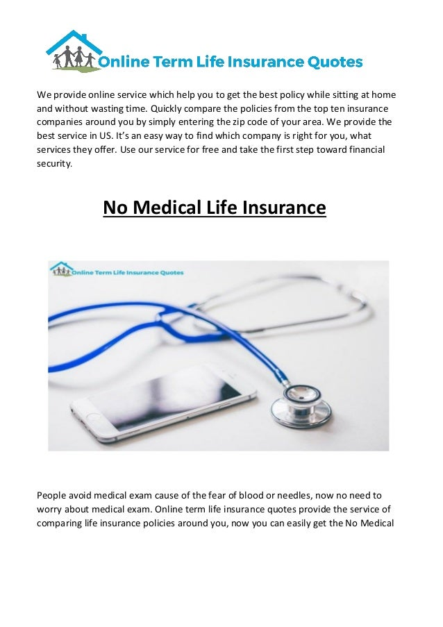 No Medical Life Insurance Simple Online Term Life Insurance Quotes