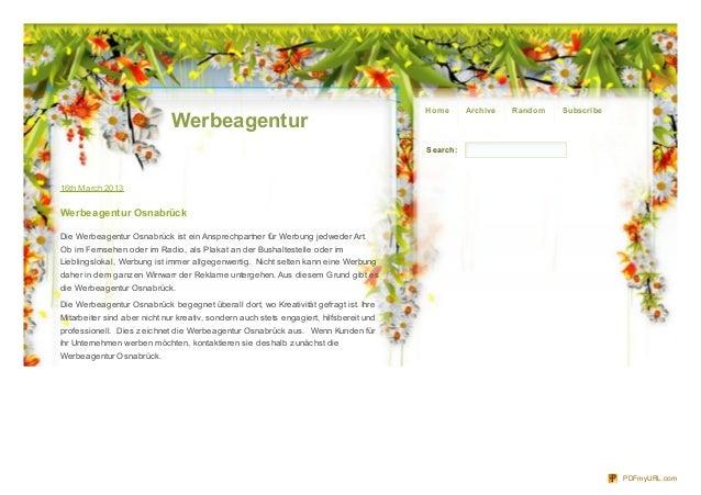 Ho m e     Archive   Rando m   Subscribe                              Werbeagentur                                        ...
