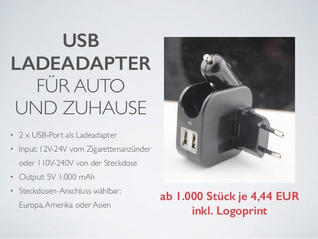 USB  LADEADAPTER  FÜR AUTO  UND ZUHAUSE  !  • 2 x USB-Port als Ladeadapter  • Input: 12V-24V vom Zigarettenanzünder  oder ...
