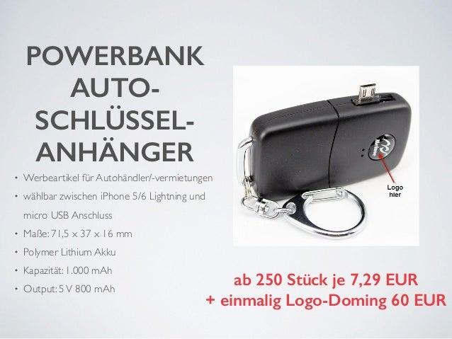 POWERBANK  AUTO-SCHLÜSSEL-ANHÄNGER  • Werbeartikel für Autohändler/-vermietungen  • wählbar zwischen iPhone 5/6 Lightning ...